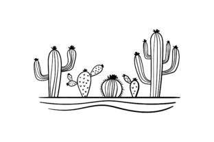 Cacti in Bloom Nature & Outdoors Craft Cut File By Creative Fabrica Crafts