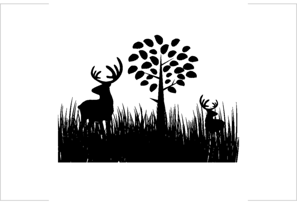 2 Deer or Antler in the Grass Field Graphic Illustrations By SARIVART