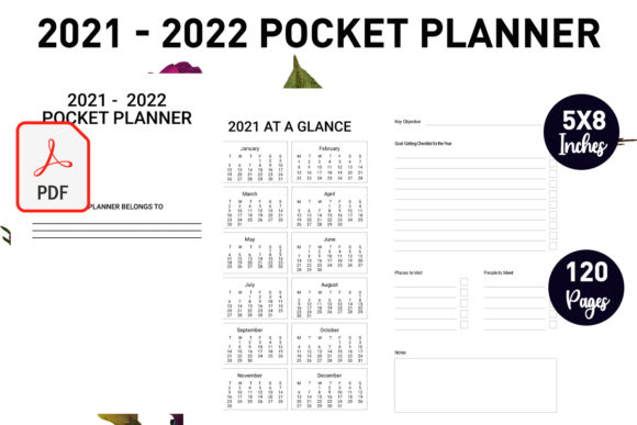 Print on Demand: 2021-2022 Pocket Weekly Monthly Planner Graphic KDP Interiors By Gurus Kdp Templates