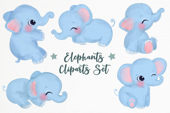 Adorable Baby Elephants Clipart Set Graphic Illustrations By DrawStudio1988