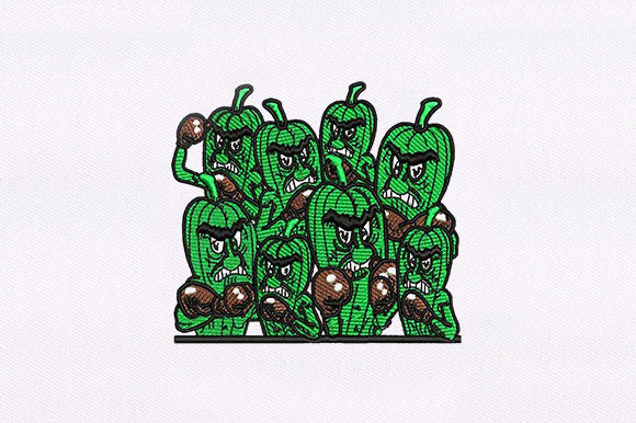 Angry Okra Plants Bouquets & Bunches Embroidery Design By DigitEMB