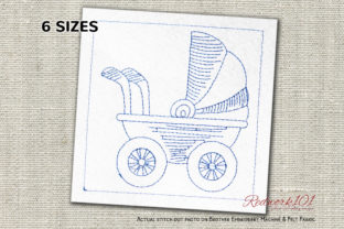 Baby Carriage Lineart Bed & Bath Embroidery Design By Redwork101