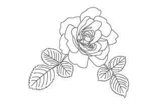 Print on Demand: Beautiful Rose with Leaves Wedding Flowers Embroidery Design By EmbArt
