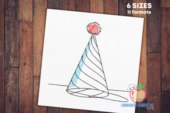 Birthday Party Hat Sketch Birthdays Embroidery Design By embroiderydesigns101