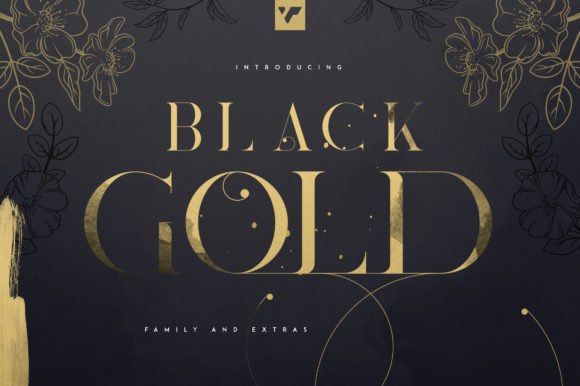 Print on Demand: Black Gold Serif Font By vladfedotovv