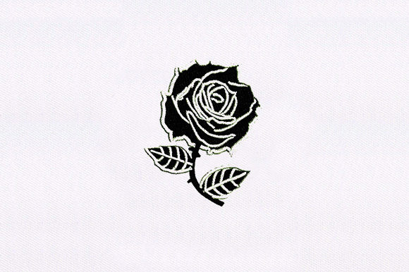 Black Rose Single Flowers & Plants Embroidery Design By DigitEMB