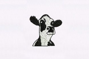 Black & White Cow Face Farm Animals Embroidery Design By DigitEMB