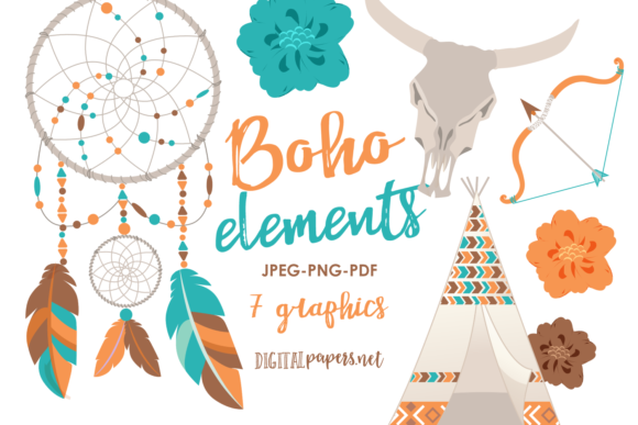 Print on Demand: Bohemian Elements Graphic Illustrations By DigitalPapers