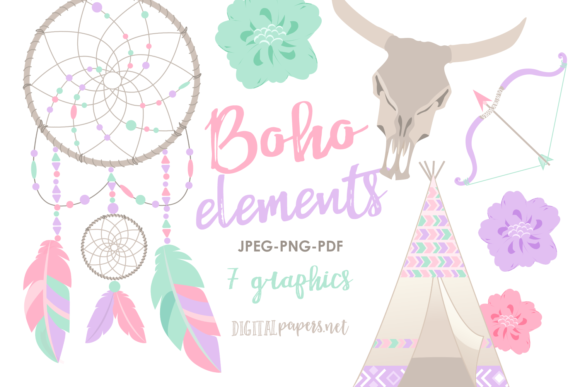 Print on Demand: Boho Elements Graphic Illustrations By DigitalPapers