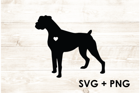 Print on Demand: Boxer Dog Silhouette Shape Outline SVG Grafik Druck-Templates von Too Sweet Inc