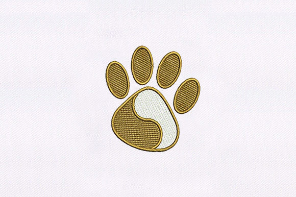 Brown & White Animal Paw Dogs Embroidery Design By DigitEMB