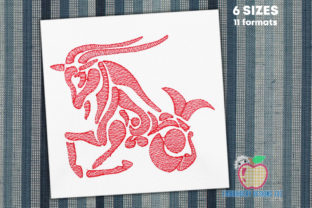 Capricorn Zodiac Sign Quick Stitch Zentangle Embroidery Design By embroiderydesigns101