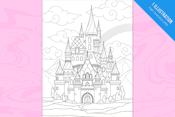 Castle Coloring Page Graphic Coloring Pages & Books Adults By Cmeree