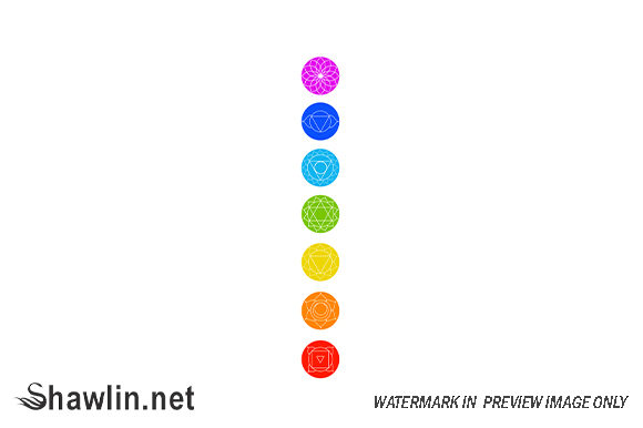 Chakra Icons with Respective Colors Graphic Illustrations By shawlin