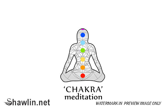 Chakra Meditation with Respective Colors Graphic Illustrations By shawlin