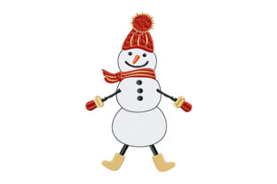 Print on Demand: Cheerful Snowman Winter Embroidery Design By EmbArt