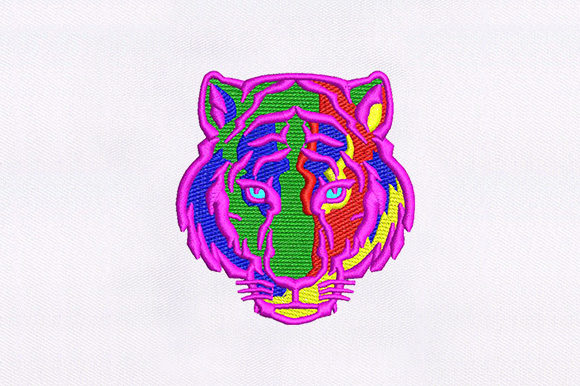 Colorful Tiger Face Wild Animals Embroidery Design By DigitEMB