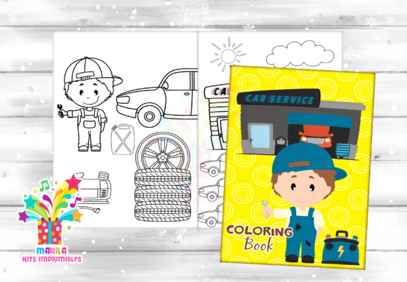 Coloring Book Car Mechanic - Pdf Graphic Coloring Pages & Books Kids By marilakits