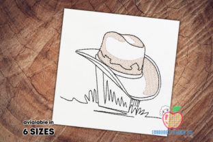 Cowboy Hat Sketch Cowboy & Cowgirl Embroidery Design By embroiderydesigns101