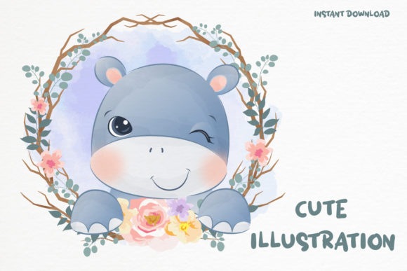 Cute Baby Hippo Clipart Graphic Graphic Illustrations By DrawStudio1988