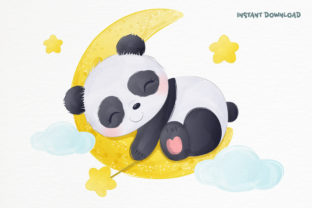 Print on Demand: Cute Baby Panda Clipart Graphic Graphic Illustrations By DrawStudio1988