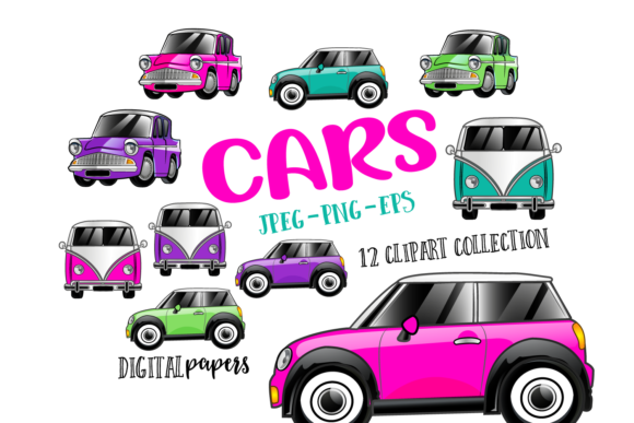 Print on Demand: Cute Cars - Vol. 2 Graphic Illustrations By DigitalPapers