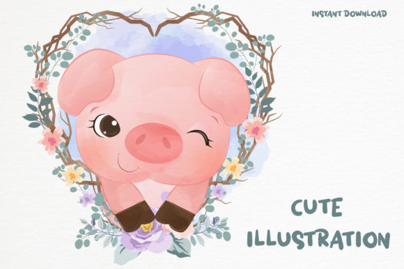 Cute Little Pig Clipart Graphic Graphic Illustrations By DrawStudio1988