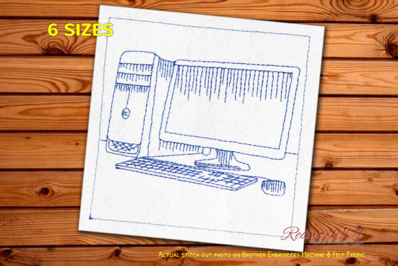 Desktop Computer Set Redwork Work & Occupation Embroidery Design By Redwork101