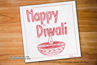 Happy Diwali Festival Asia Embroidery Design By Redwork101