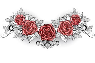Dotwork Red Roses Tattoo Graphic Illustrations By Blackmoon9