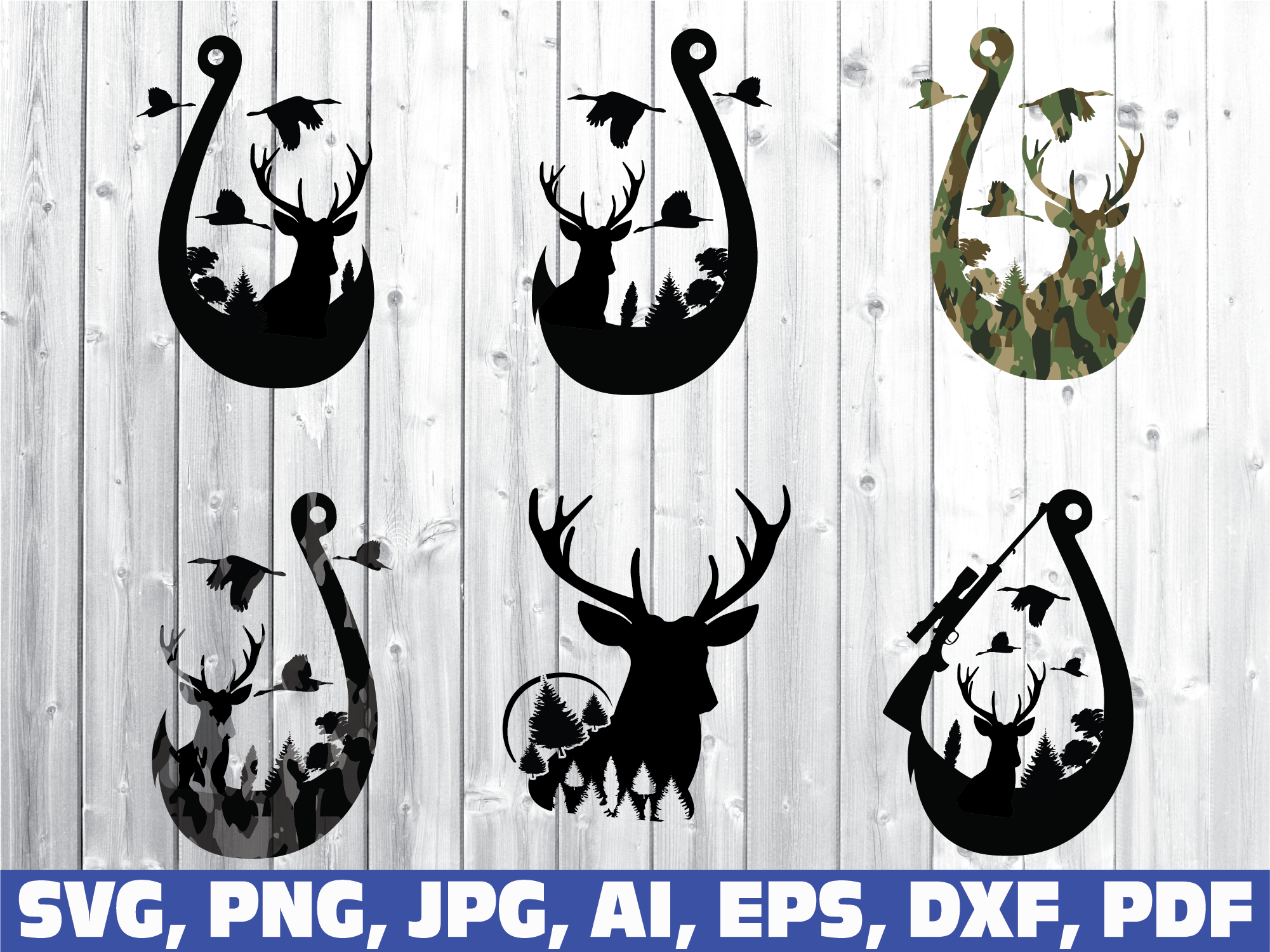 Duck Deer and Hook SVG hunt and fish svg bundle fishing usa flag fishing svg hunting USA flag hunting svg fishing hunting svg bundle