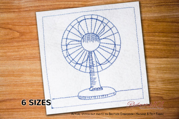 Electric Table Fan Redwork House & Home Embroidery Design By Redwork101