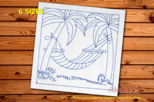 Empty Swing at Beach Redwork Outdoor Quotes Embroidery Design By Redwork101