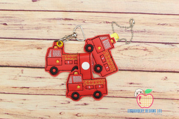 Fire Engine ITH KeyFob Snaptab Work & Occupation Embroidery Design By embroiderydesigns101