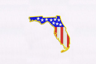 Florida Map Independence Day Embroidery Design By DigitEMB