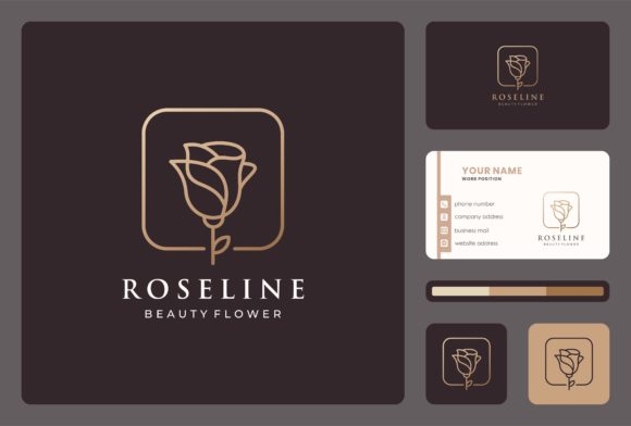 Flower Rose Logo with Business Card Graphic Logos By masyoi12