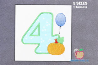 Fourth Birthday with Fall Pumpkin Birthdays Embroidery Design By embroiderydesigns101