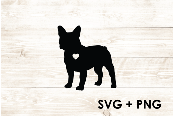Print on Demand: Frenchie French Bulldog Silhouette Heart Graphic Print Templates By Too Sweet Inc