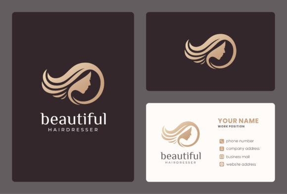 Hairdresser Logo with Business Card Graphic Logos By masyoi12