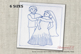 Happy Couple Bluework Wedding Designs Embroidery Design By Redwork101