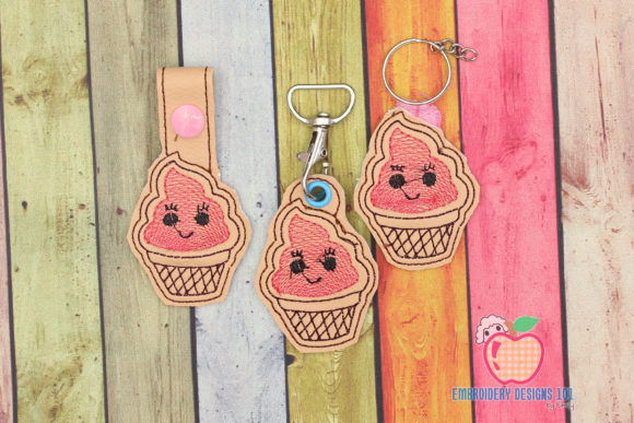 Ice Cream ITH Key Fob Pattern Food & Dining Embroidery Design By embroiderydesigns101
