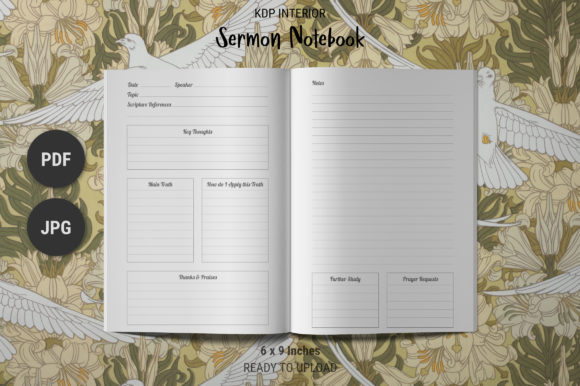 Print on Demand: KDP Sermon Notes Journal Graphic KDP Interiors By The Low Content Bookshelf