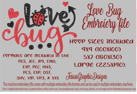 Print on Demand: Love Bug Valentine's Day Embroidery Design By JessasGraphicDesgins
