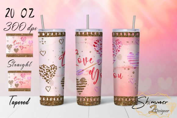 Print on Demand: Love Glitters Tumbler Graphic Print Templates By shimmer2designer
