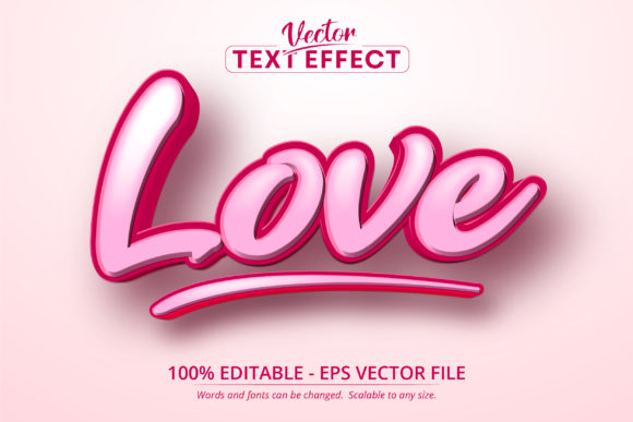 Print on Demand: Love Text, Cartoon Style Text Effect Graphic Layer Styles By Mustafa Bekşen