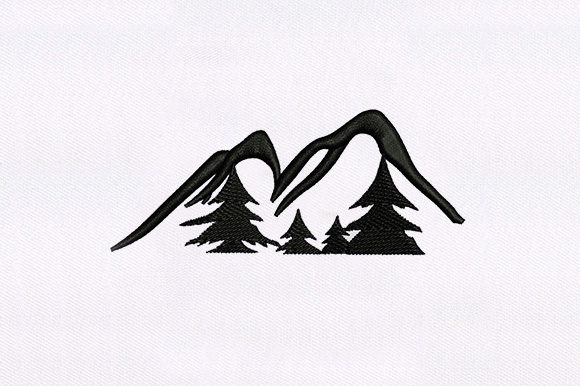 Mountains and Trees Design Camping & Fishing Embroidery Design By DigitEMB