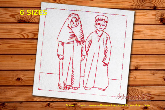 Muslim Girl and Boy Bluework Religion & Faith Embroidery Design By Redwork101
