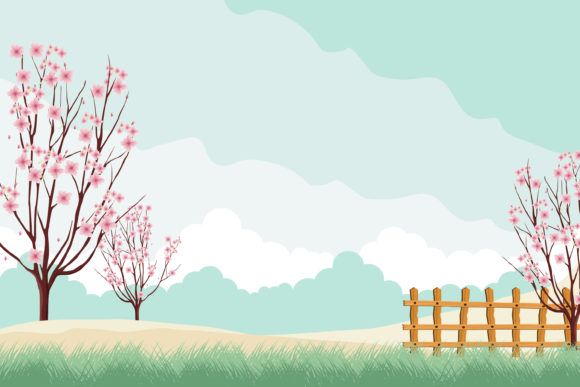 Print on Demand: Romantic Park with Cherry Blossom Gráfico Ilustraciones Por edywiyonopp