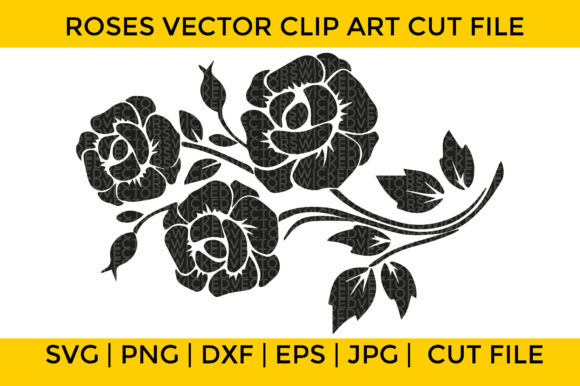 Print on Demand: Roses Vector Clip Art Graphic Crafts By Wicked Vectors