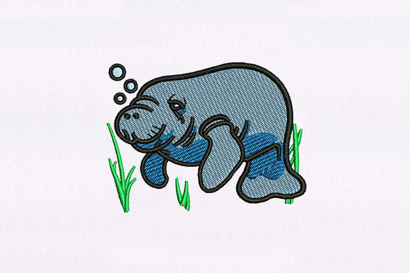 Seal Surfing Animal Design Fish & Shells Embroidery Design By DigitEMB